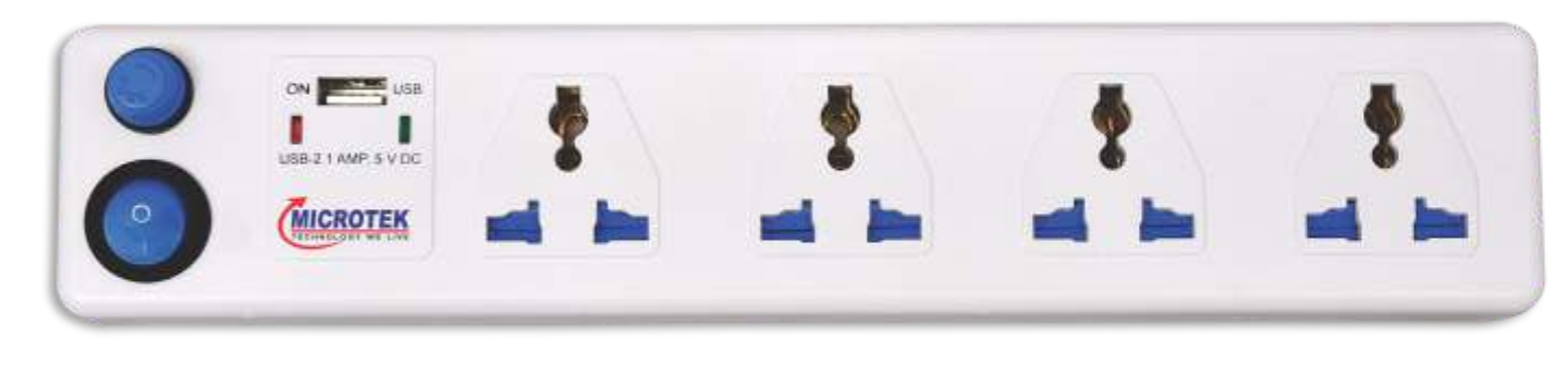 SPIKE GUARD, 4 SOCKET + USB WITH ONE SWITCH (2 METER)