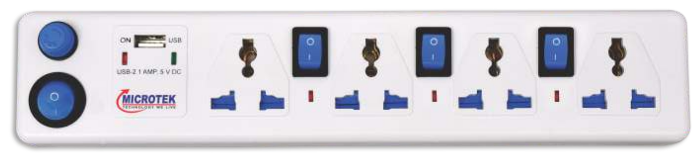 SPIKE GUARD, 4 SOCKET + USB WITH FOUR SWITCH (2 METER)