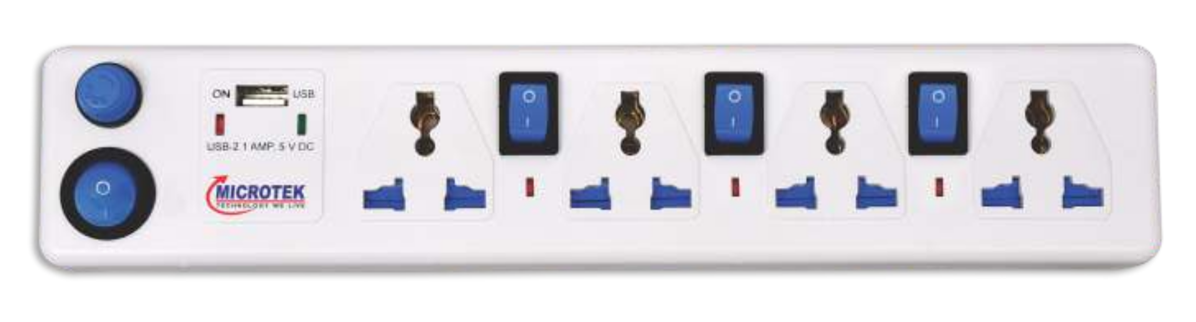 SPIKE GUARD, 4 SOCKET + USB WITH FOUR SWITCH (1.5 METER)